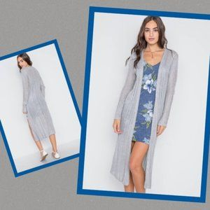 Long Cardigan Sweater Open Front Heather Gray S/M